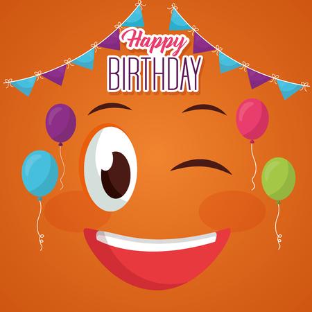 happy birthday face stinging the eye pennants balloons vector illustration