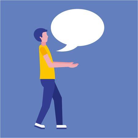 man with speech bubble business talk vector illustration Illustration