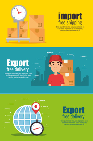 import free shipping set icons vector illustration design