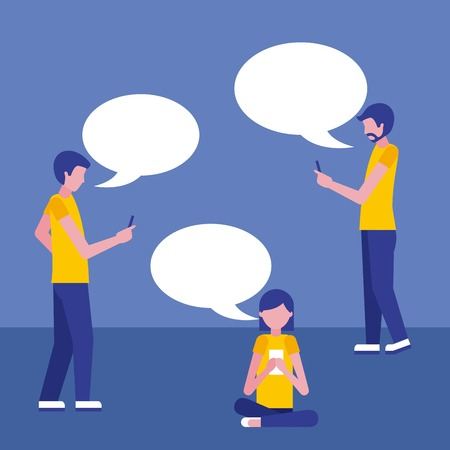 people using smartphone and speech bubbles vector illustration
