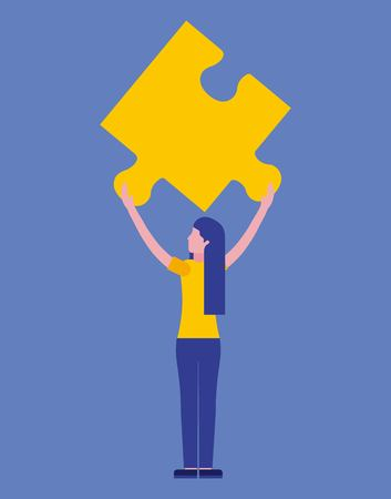 woman holding puzzle piece business vector illustration