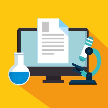 education on line with desktop display vector illustration design