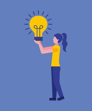 Mujer sosteniendo bombilla idea innovación negocio ilustración vectorial