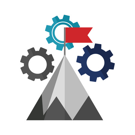 mountain with flag on top and gear machine vector illustration design Archivio Fotografico - 111976933