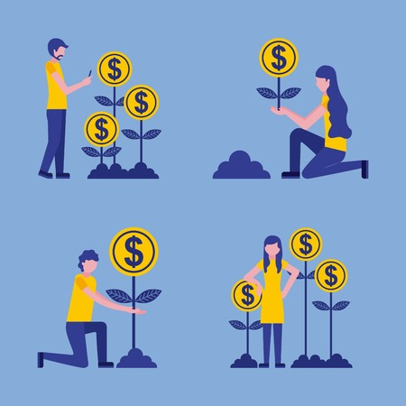 man and woman business plant coins growth vector illustration