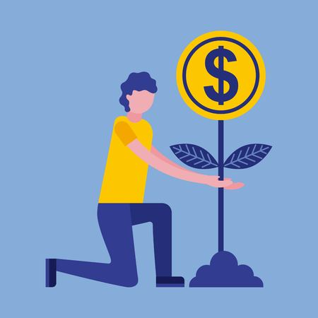man in the kenee with plant coins business vector illustration