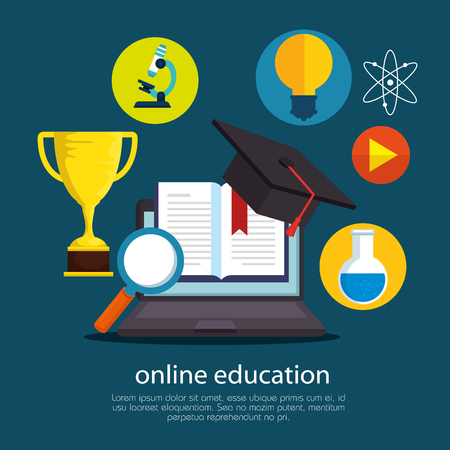 education on line with laptop vector illustration design