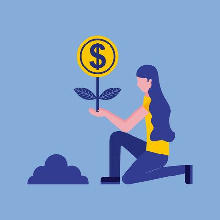 woman planting plant growth coin money business vector illustration