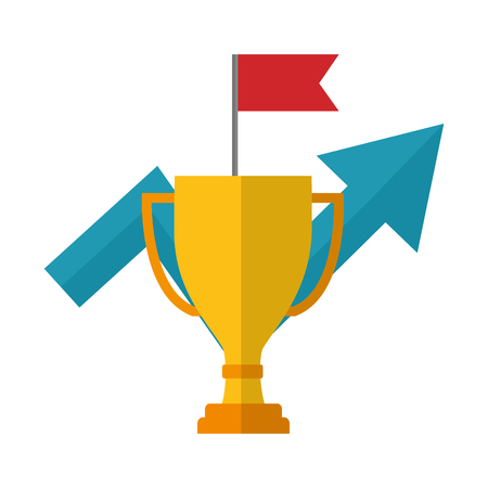 trophy award cup with arrow up and flag vector illustration design Illustration