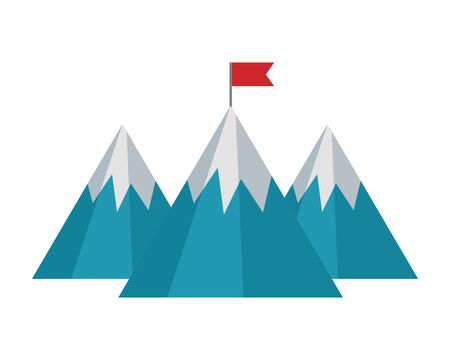mountains with flag isolated icon vector illustration design