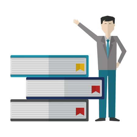 businessman with pile books avatar character vector illustration design