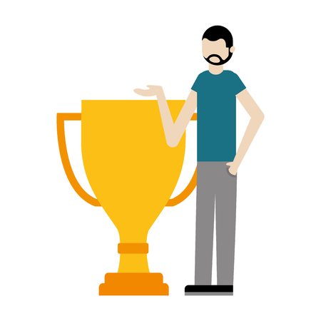 young man with trophy award cup isolated icon vector illustration design Çizim