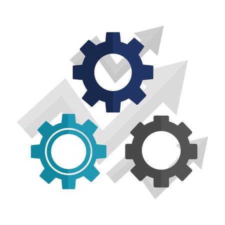 Macchina ad ingranaggi con frecce in alto isolato icona illustrazione vettoriale design