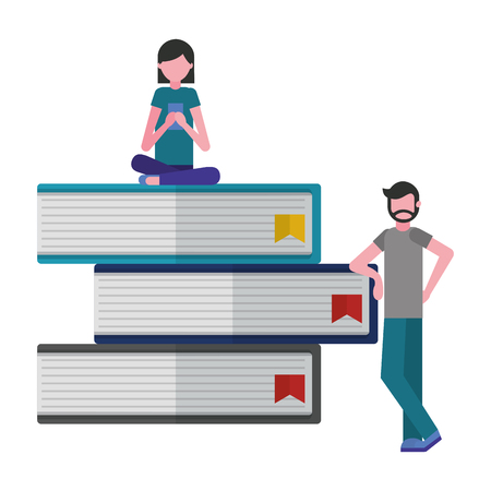 young people with pile library books isolated icon vector illustration design