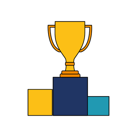 trophy award cup in podium isolated icon vector illustration design