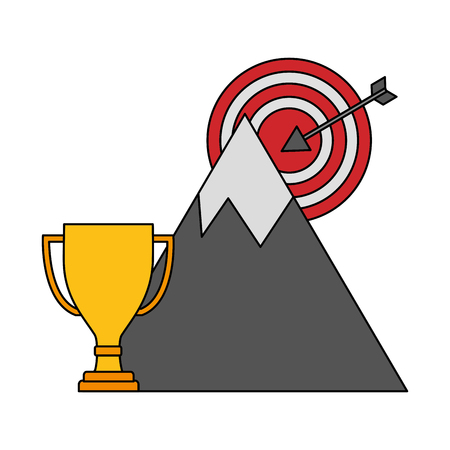 target arrow success with mountain and trophy cup vector illustration design