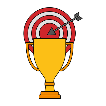 target arrow success with trophy cup vector illustration design