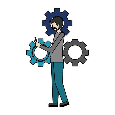 businessman with gear machine and smartphone vector illustration design Ilustrace