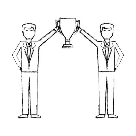 biznesmeni posiadający trofeum nagroda sukces wektor ilustracja rysunek ręka