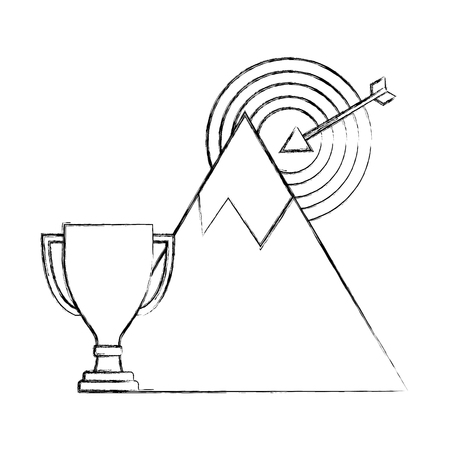 business trophy mountain target start up success vector illustration hand drawing