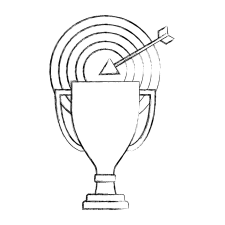 business trophy award target arrow progress vector illustration hand drawing