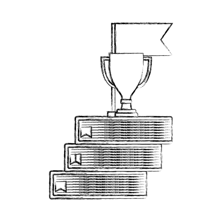 business trophy cup award on pile books flag vector illustration hand drawing