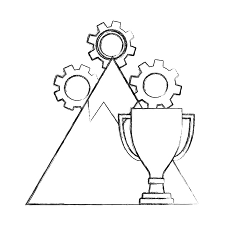 business trophy winner mountain gears success vector illustration hand drawing