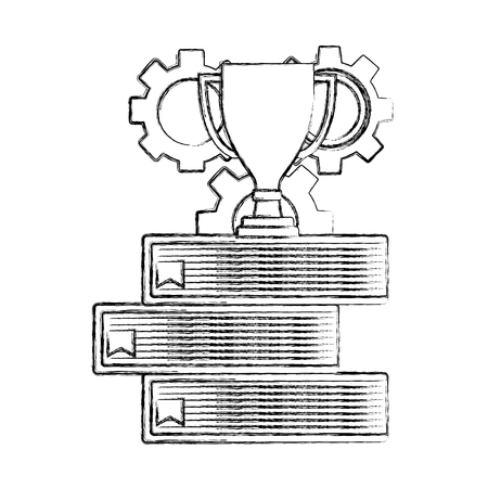 business trophy gears team on stack books vector illustration hand drawing