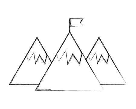 mountains with flag success on the top vector illustration hand drawing