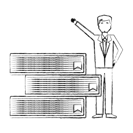 businessman with stacked books management vector illustration hand drawing