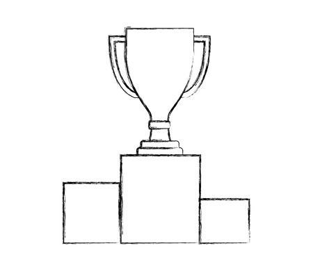 award trophy cup on podium competition vector illustration hand drawing Stock fotó - 111977076