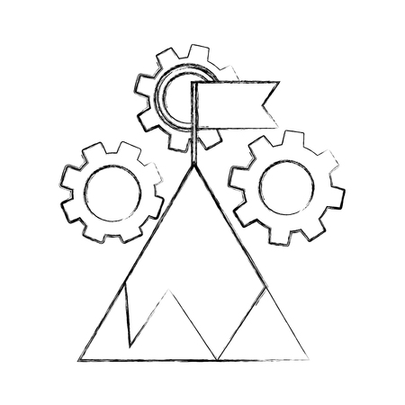business success start mountain with flag and gears vector illustration hand drawing 일러스트