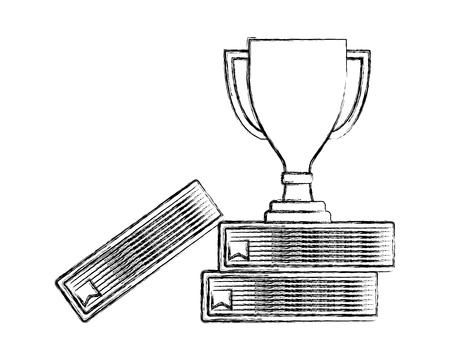 trophy award winner on books top vector illustration hand drawing