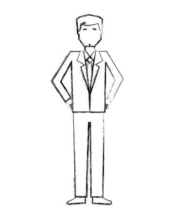 business man character standing avatar vector illustration hand drawing Standard-Bild - 106430422