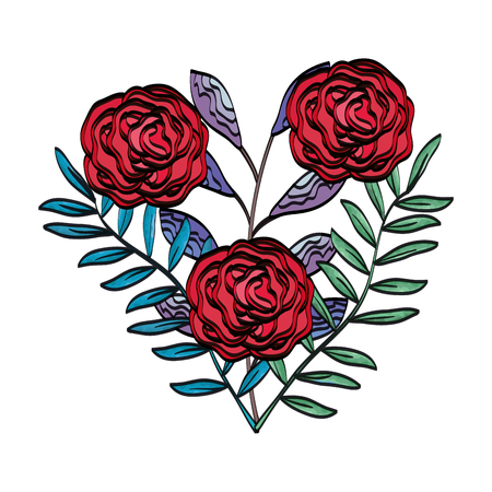 beautiful roses and leafs decoration vector illustration design Illustration