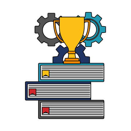 gear machine with pile books and trophy cup vector illustration design