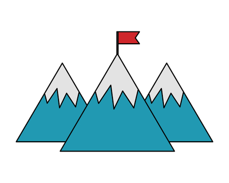 mountains with flag isolated icon vector illustration design Stok Fotoğraf - 106430679