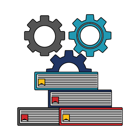 macchina ad ingranaggi con pila libri icona isolata illustrazione vettoriale design
