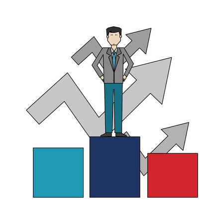 businessman in podium with arrows up vector illustration design