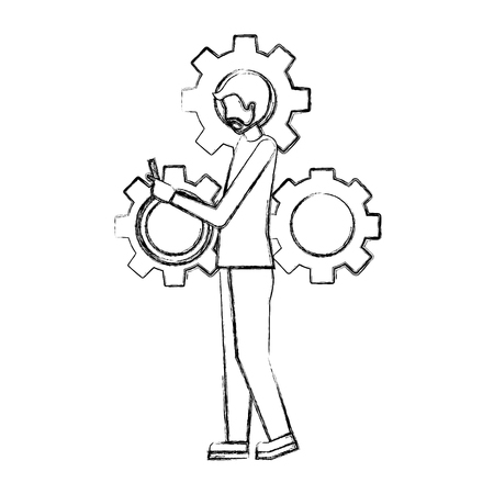 businessman using smartphone and gears work vector illustration hand drawing