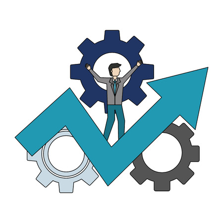 businessman with gear machine and arrow up vector illustration design