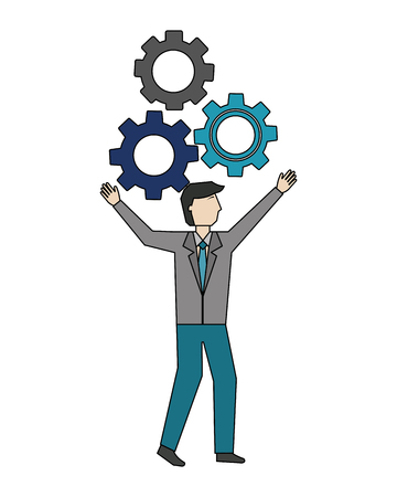 businessman with gear machine isolated icon vector illustration design