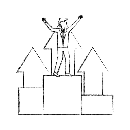 businessman with success arrows standing on the podium vector illustration hand drawing