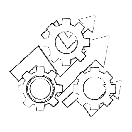 business arrow financial gears progress work vector illustration hand drawing  イラスト・ベクター素材