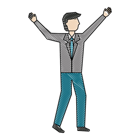 business man character standing avatar vector illustration color drawing