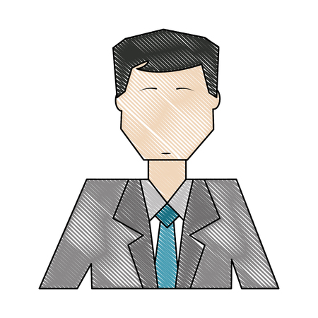 business man portrait employee manager vector illustration color drawing
