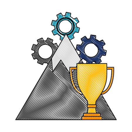 business trophy winner mountain gears success vector illustration color drawing