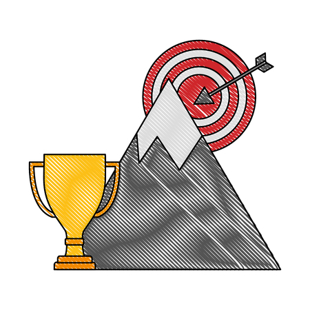 business trophy mountain target start up success vector illustration color drawing Foto de archivo - 106431591