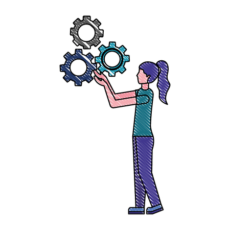 woman holding gears team work success vector illustration color drawing