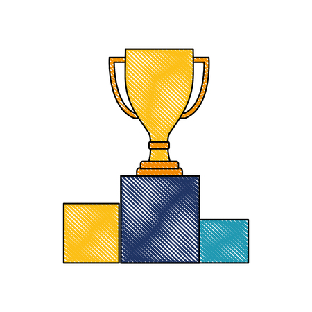 award trophy cup on podium competition vector illustration color drawing Stock Illustratie